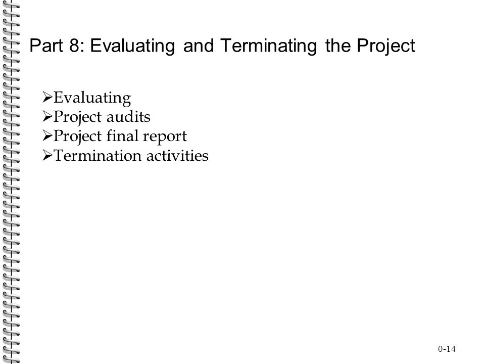 Part 8: Evaluating and Terminating the Project