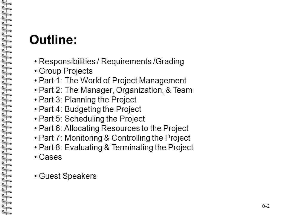 Outline: Responsibilities / Requirements /Grading Group Projects
