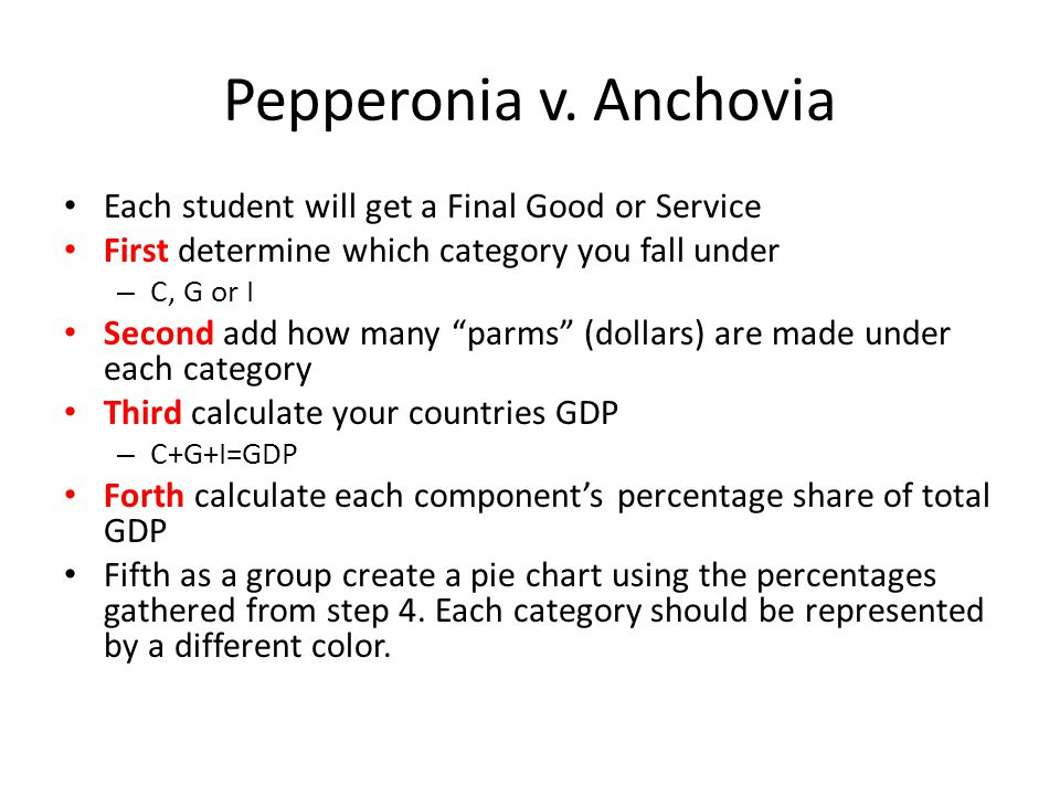 Pepperonia v. Anchovia Each student will get a Final Good or Service