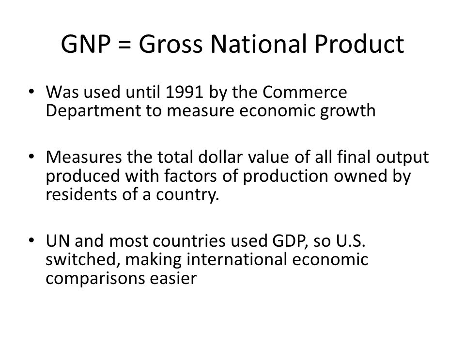 GNP = Gross National Product