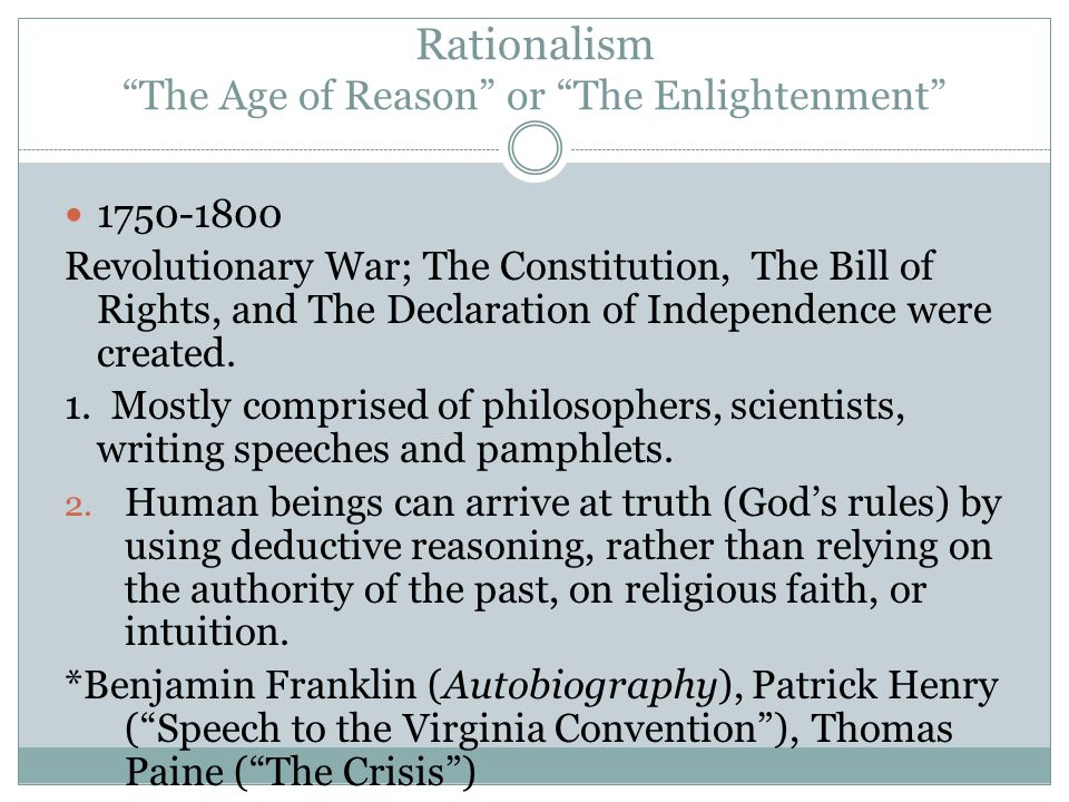 Puritans vs Rationalists