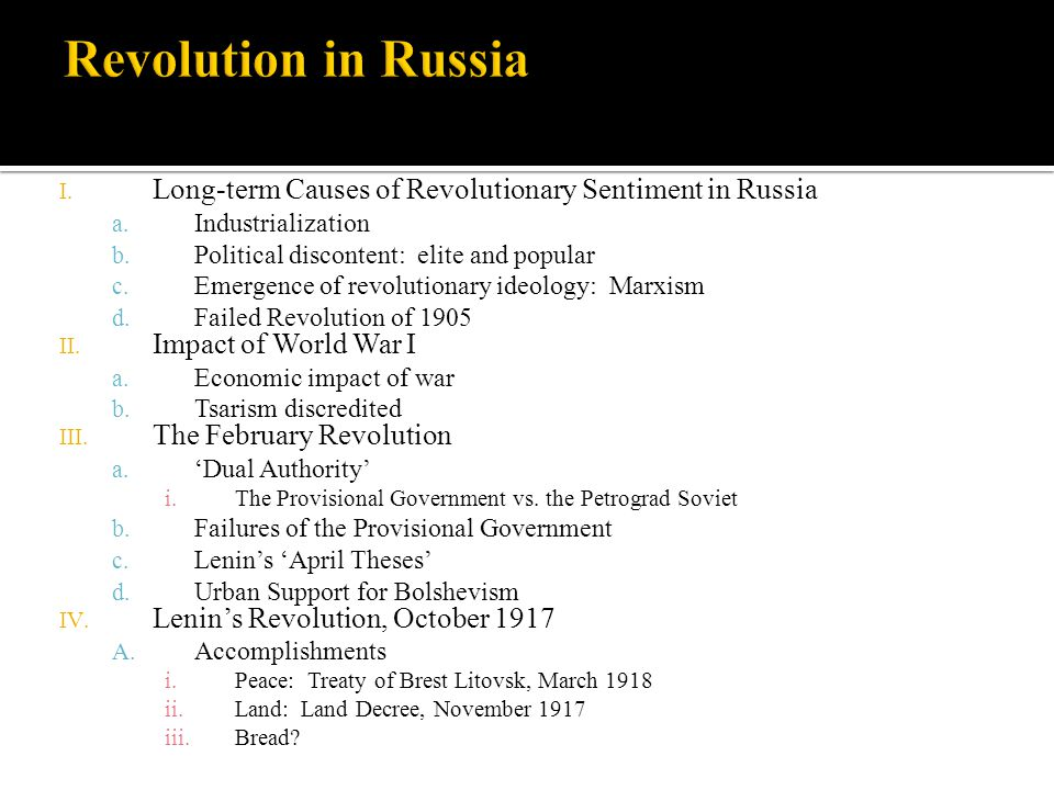 the effects of the russian revolution politics essay War and revolution an essay by professor rempel, western new england  college, on the origins and impact of russian involvement in the war places this .