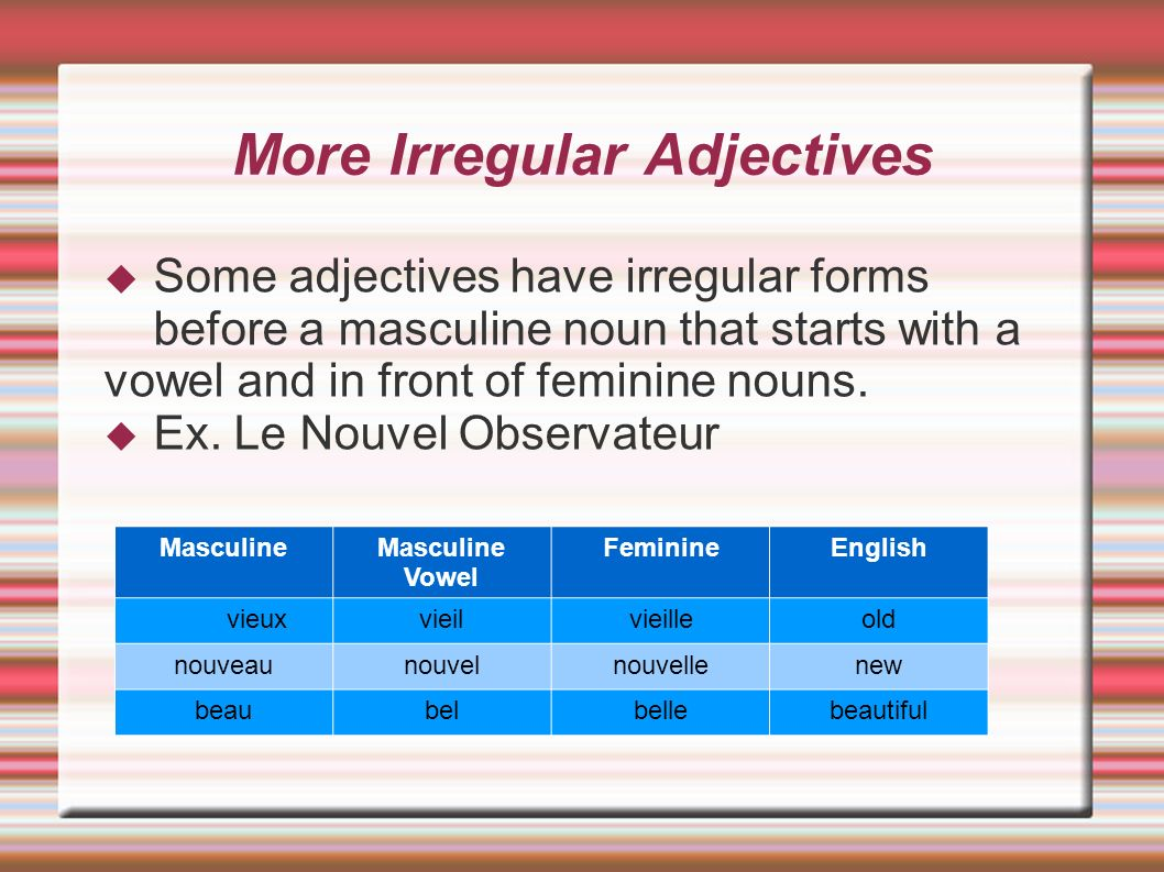 More Irregular Adjectives