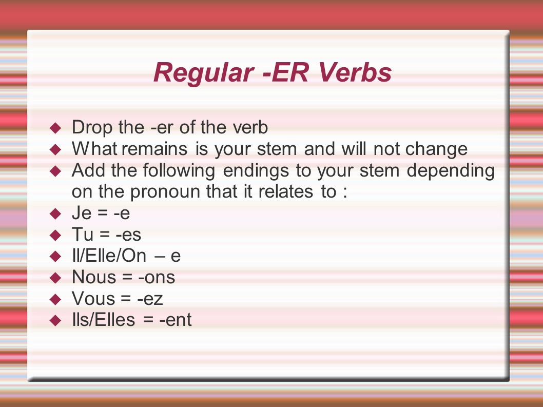 Regular -ER Verbs Drop the -er of the verb
