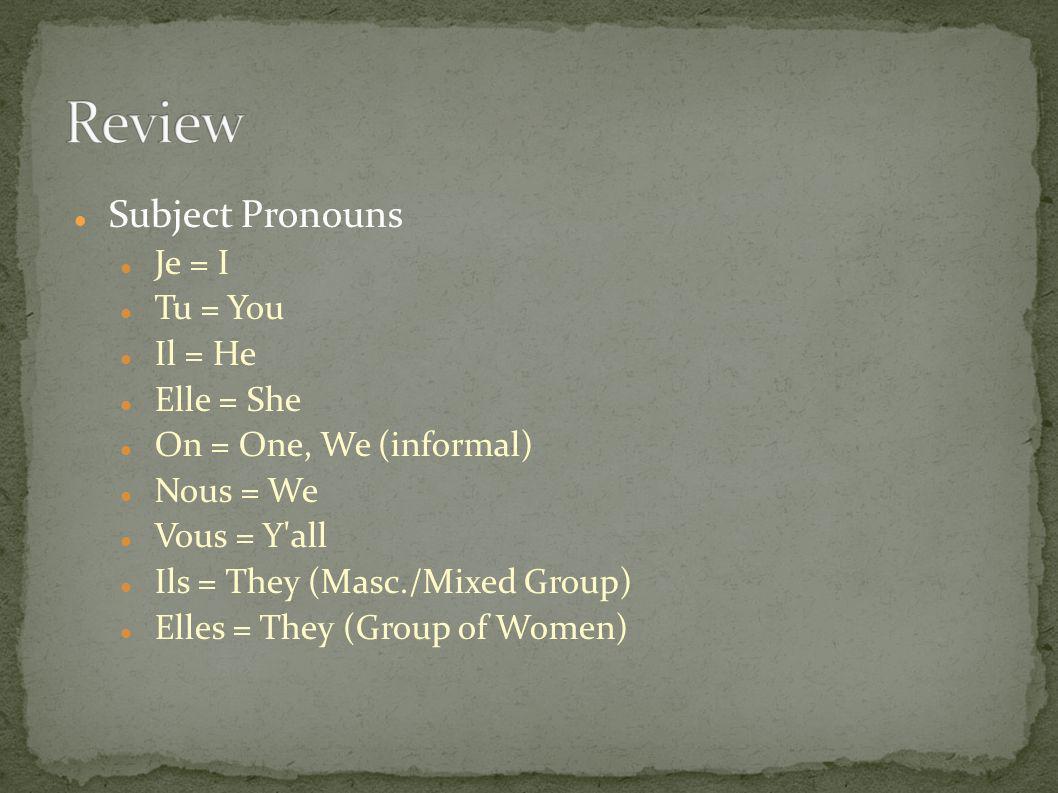 Review Subject Pronouns Je = I Tu = You Il = He Elle = She