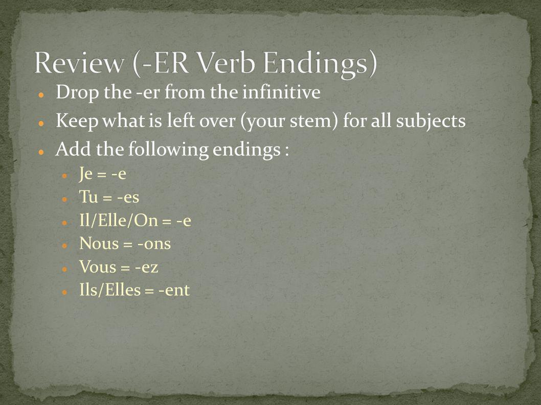 Review (-ER Verb Endings)