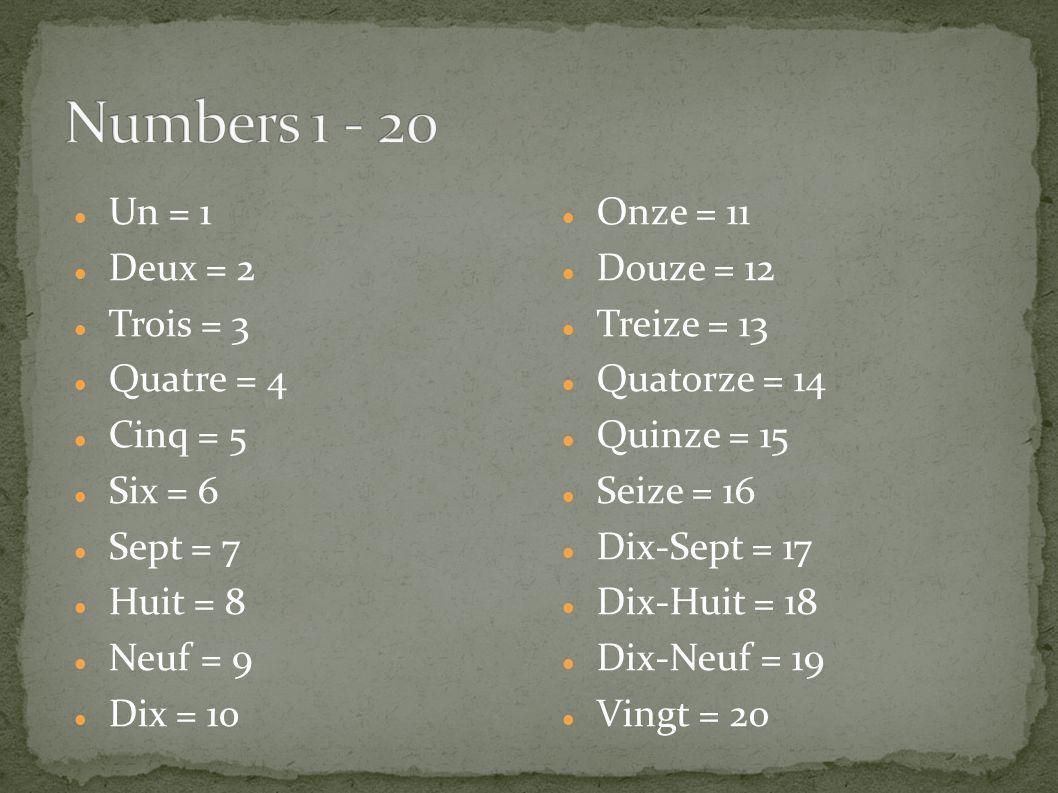 Numbers 1 - 20 Un = 1 Deux = 2 Trois = 3 Quatre = 4 Cinq = 5 Six = 6