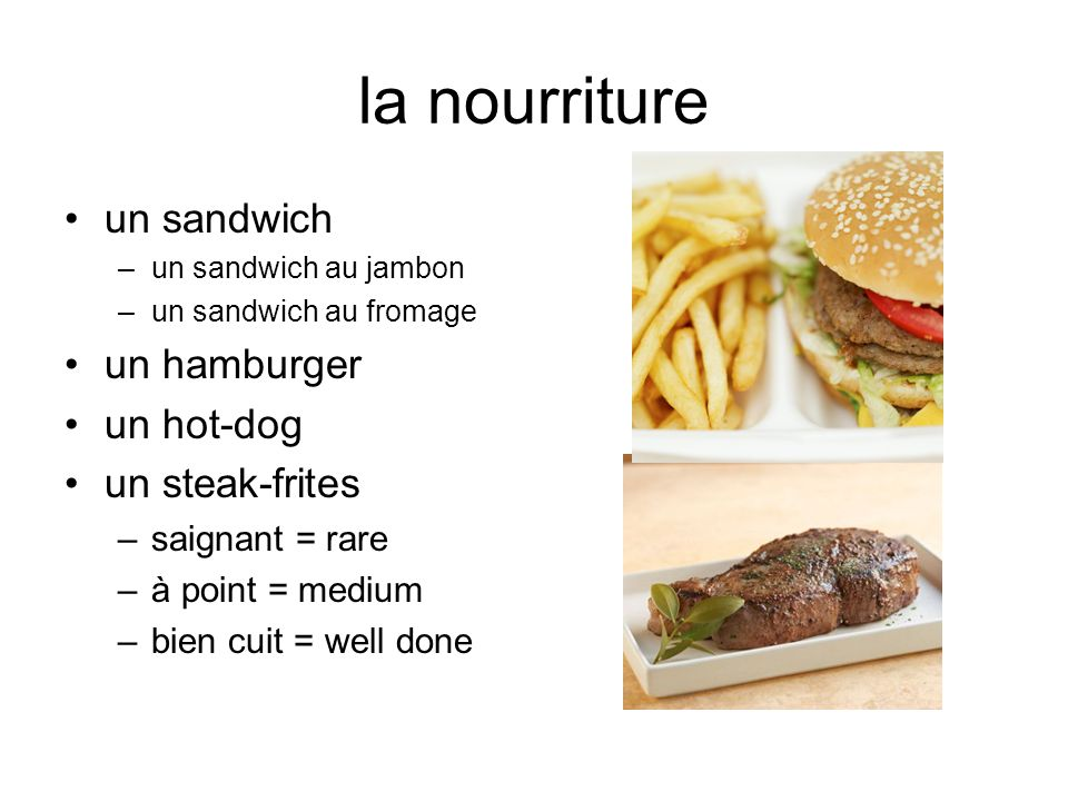 la nourriture un sandwich un hamburger un hot-dog un steak-frites