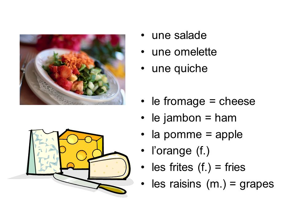 une salade une omelette. une quiche. le fromage = cheese. le jambon = ham. la pomme = apple. l'orange (f.)