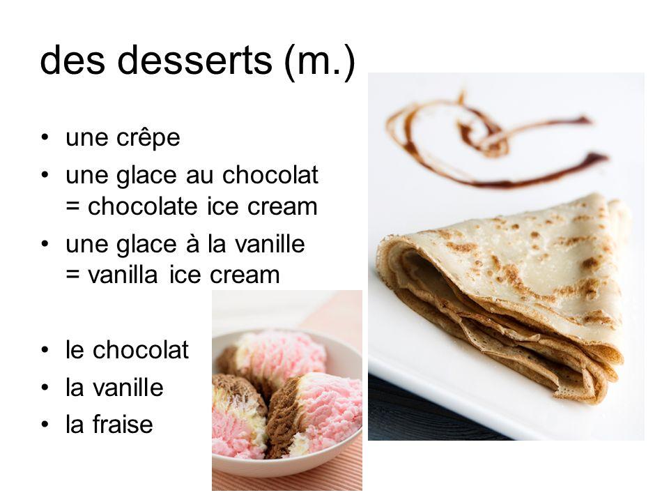 des desserts (m.) une crêpe
