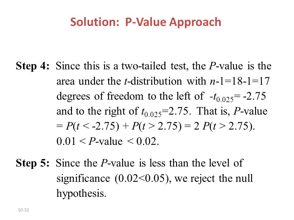 how to use the p-value approach