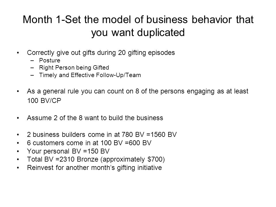 Month 1-Set the model of business behavior that you want duplicated