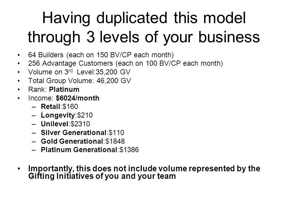 Having duplicated this model through 3 levels of your business