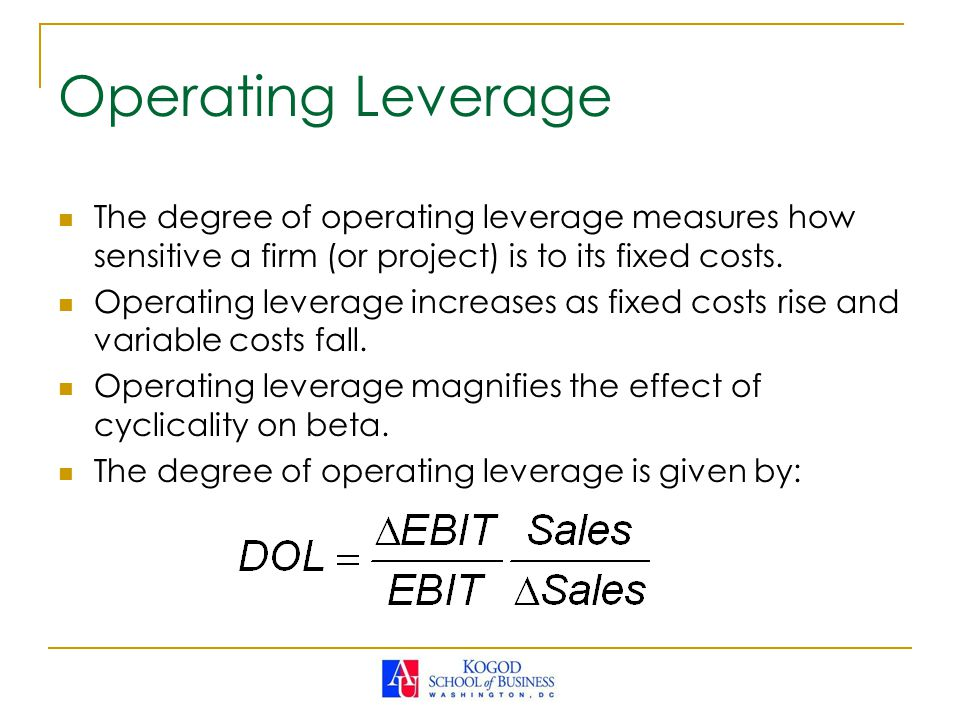 firms with a high degree of operating leverage are Study 54 fin final flashcards from kayla s on studyblue a high degree of operating leverage assuming the firm is operating with a positive profit margin.
