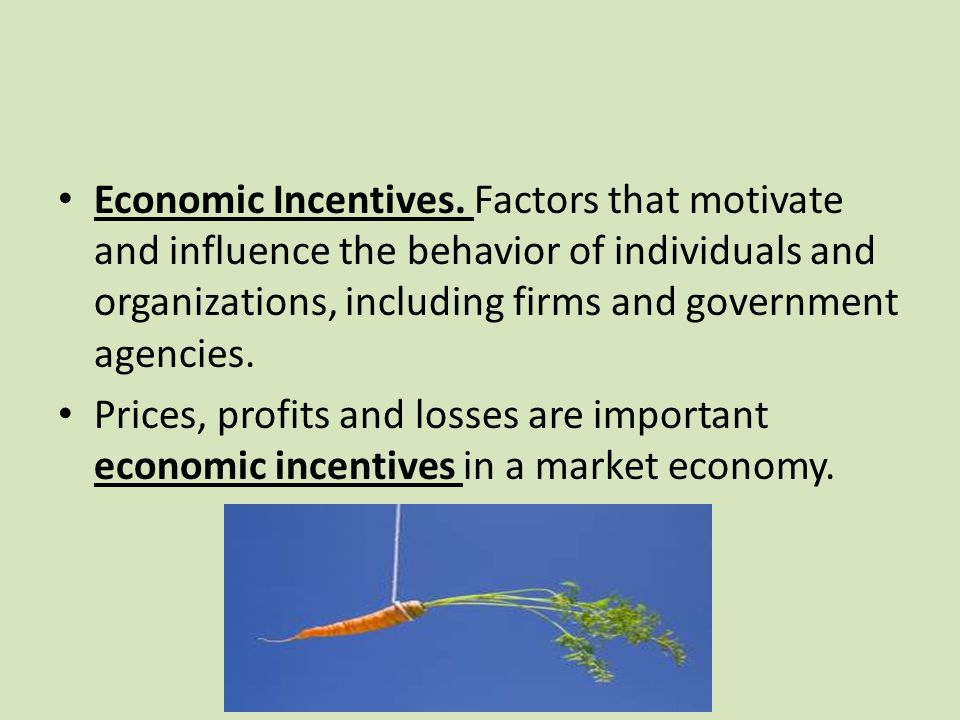 Economic Incentives. Factors that motivate and influence the behavior of individuals and organizations, including firms and government agencies.