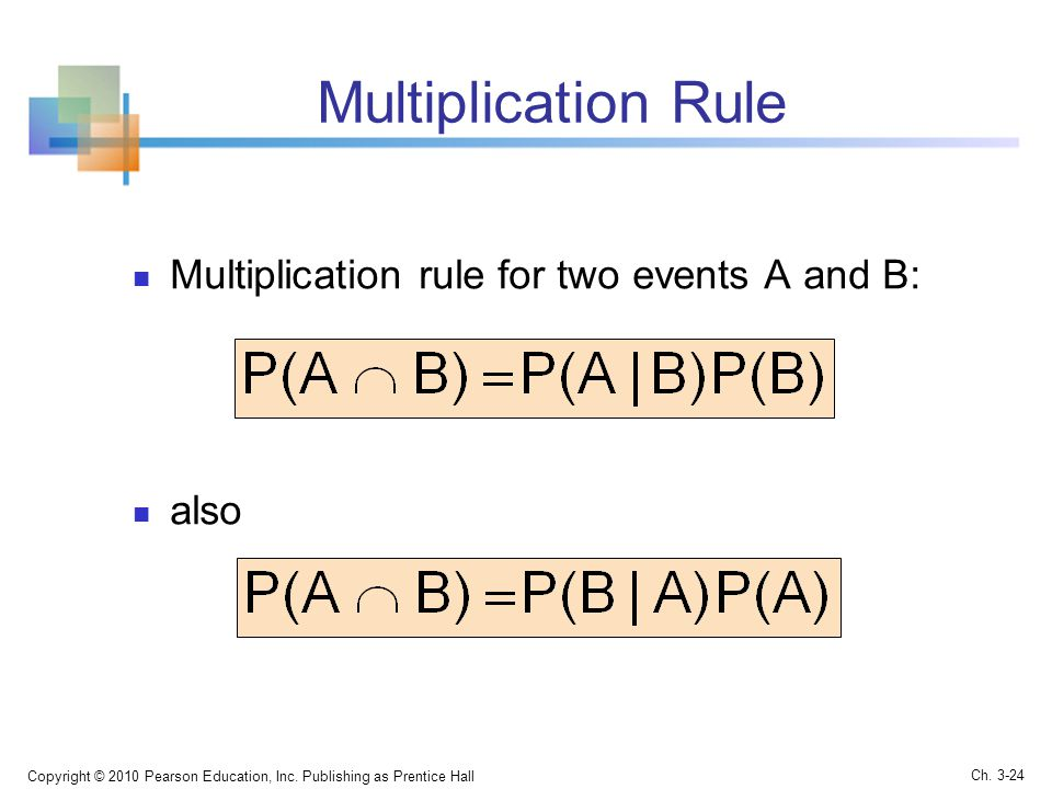 Multiplication Rule Multiplication rule for two events A and B: also
