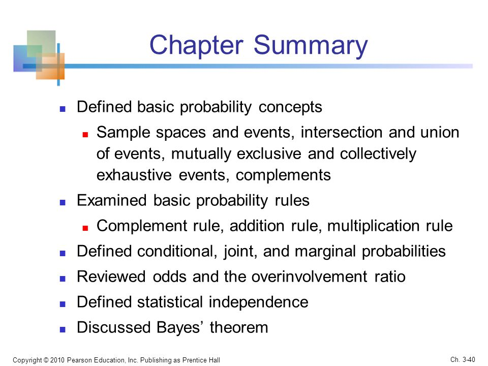 Chapter Summary Defined basic probability concepts