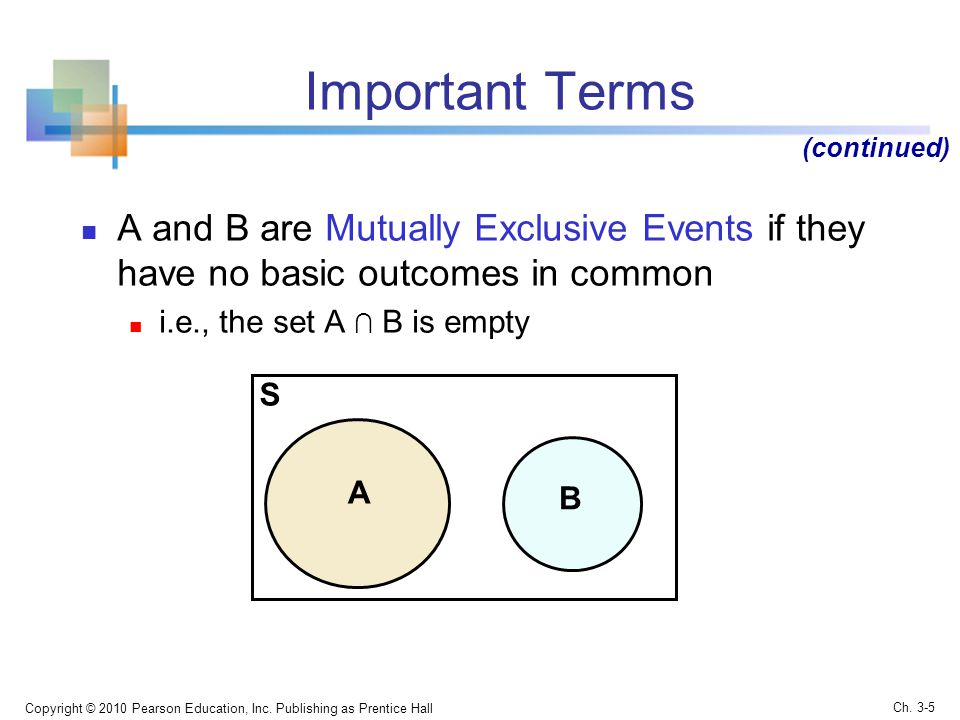 Important Terms (continued) A and B are Mutually Exclusive Events if they have no basic outcomes in common.