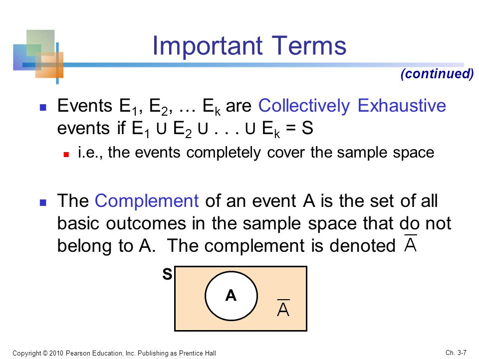 Important Terms (continued) Events E1, E2, … Ek are Collectively Exhaustive events if E1 U E2 U U Ek = S.