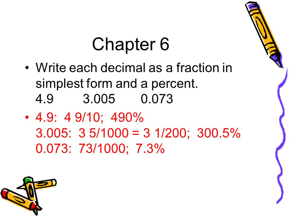 write each fraction as a percent Fractions, decimals, and percentages activity set 12 int_ran_12_tg write 413 on the mat and use overhead base-10 assign each group one problem to model on both the place value mat and the money mat.