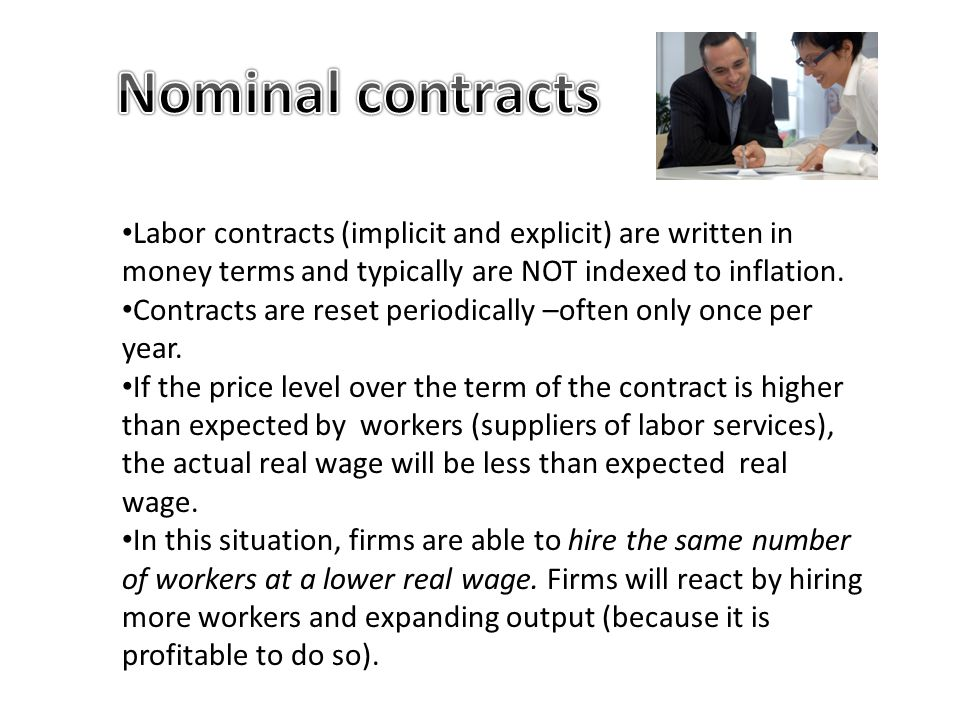 Nominal contracts Labor contracts (implicit and explicit) are written in money terms and typically are NOT indexed to inflation.