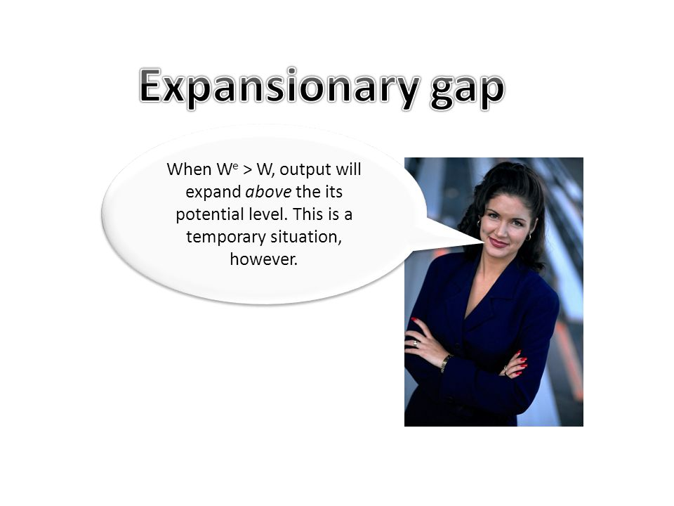 Expansionary gap When We > W, output will expand above the its potential level.