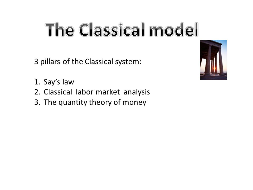 The Classical model 3 pillars of the Classical system: Say's law