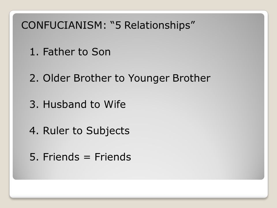 CONFUCIANISM: 5 Relationships 1. Father to Son 2