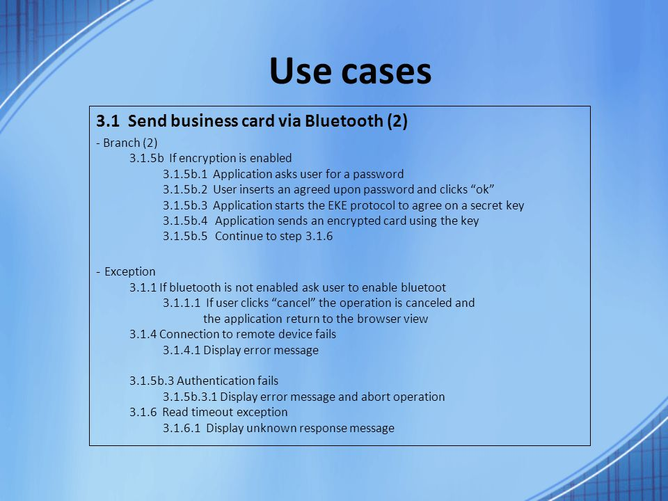 Business cards application for android final presentation ppt use cases 31 send business card via bluetooth 2 exception colourmoves