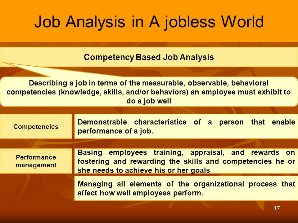 Job Analysis in A jobless World
