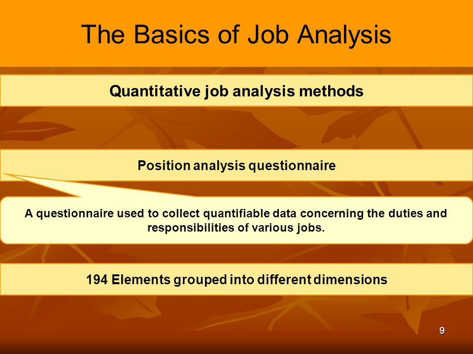 define the elements of job analysis Introduction to business process analysis  define the process boundaries that  is a valuable tool for understanding the process using graphic elements to.
