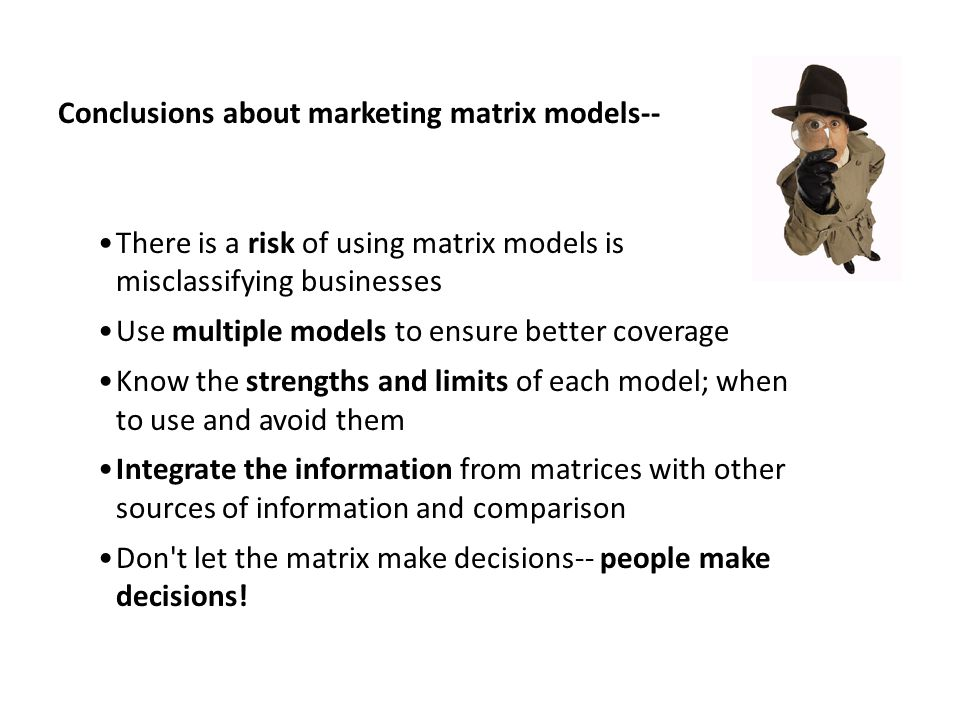 Conclusions about marketing matrix models--