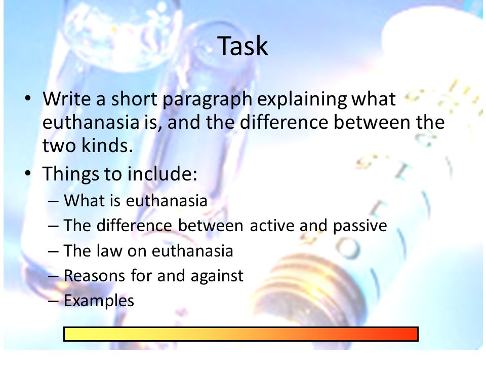 differences between passive and active euthanasia T he distinction between active and passive euthanasia is thought to be crucial  for medical ethics the idea is that it is permissible, at least in some cases,.