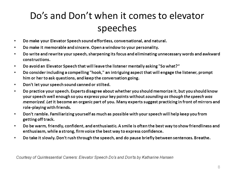 Do's and Don't when it comes to elevator speeches