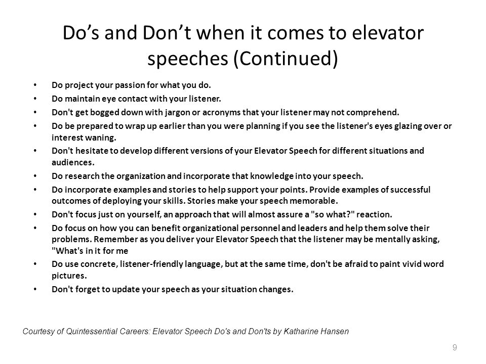 Do's and Don't when it comes to elevator speeches (Continued)