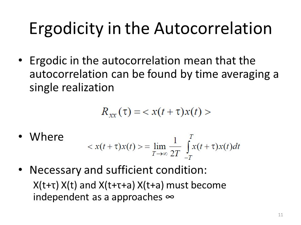 Ergodicity in the Autocorrelation
