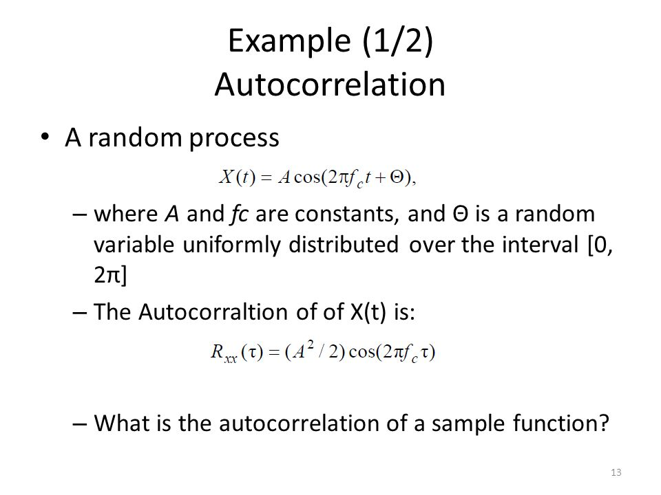 Example (1/2) Autocorrelation