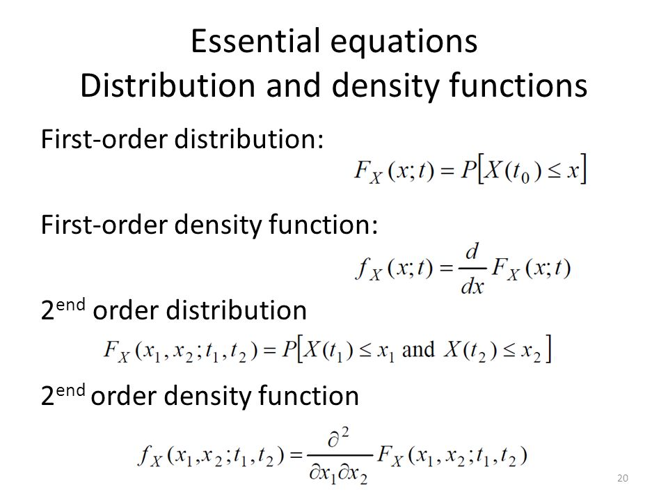 Essential equations Distribution and density functions