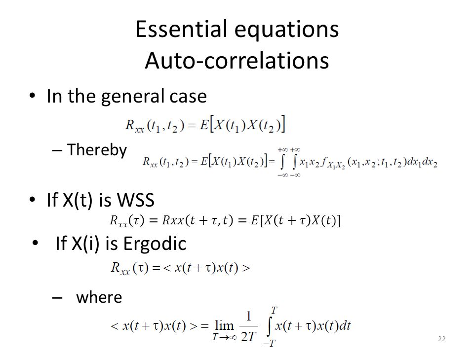 Essential equations Auto-correlations