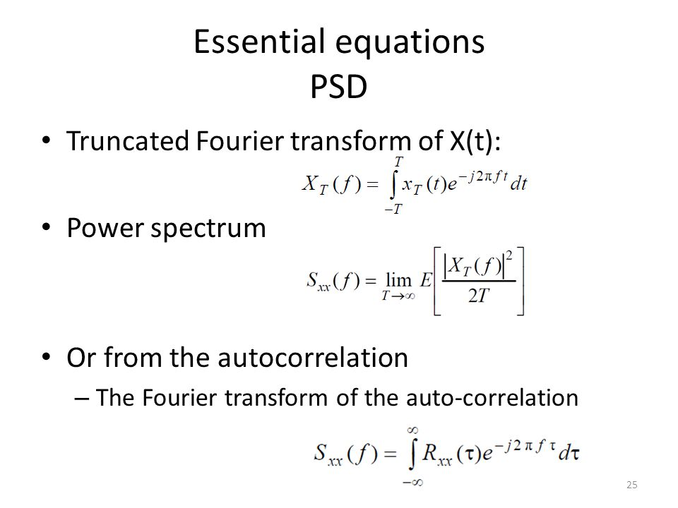 Essential equations PSD