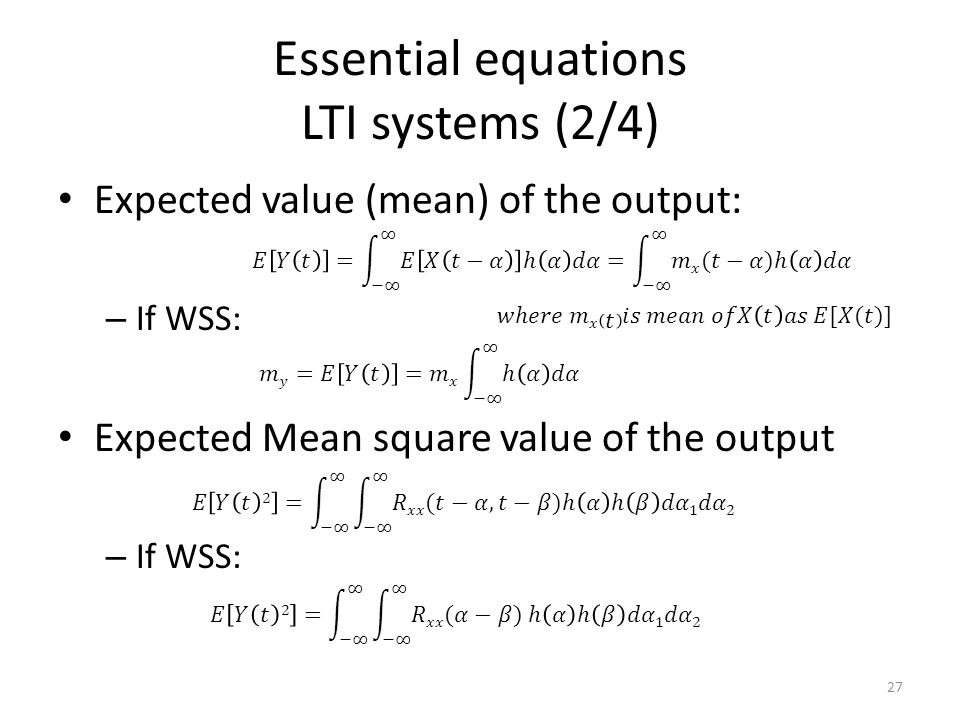 Essential equations LTI systems (2/4)