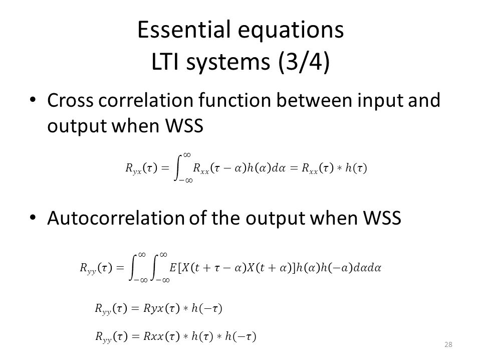 Essential equations LTI systems (3/4)
