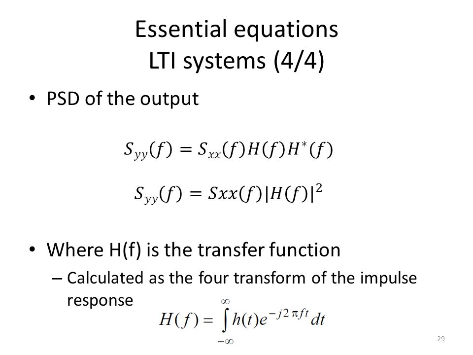 Essential equations LTI systems (4/4)