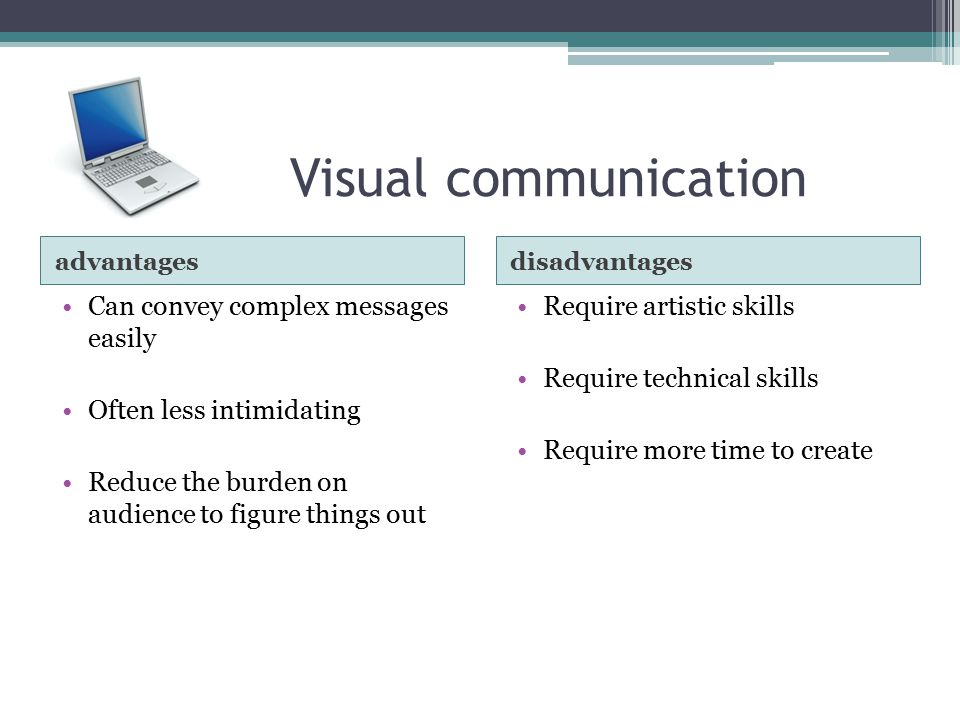 Visual communication Can convey complex messages easily
