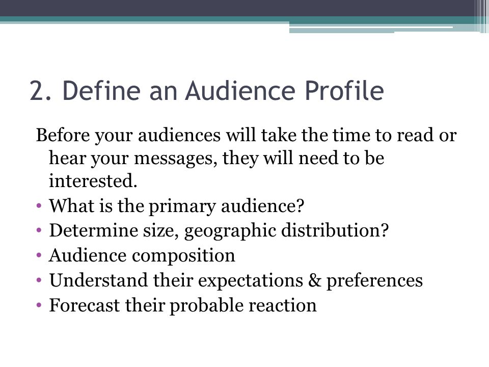 2. Define an Audience Profile