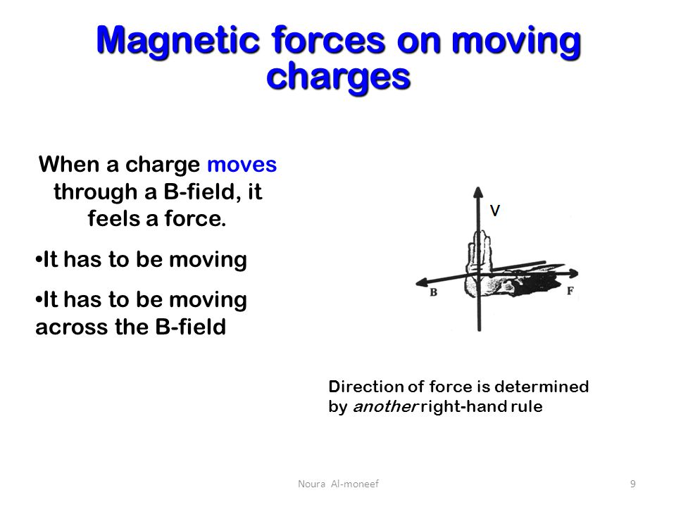 magnetic force on a moving charge The magnetic force on a charged and moving particle is given by f =q(v x b) where f is the force experienced by the charged particle v is the velocity of particle b is the strength of magnetic field.