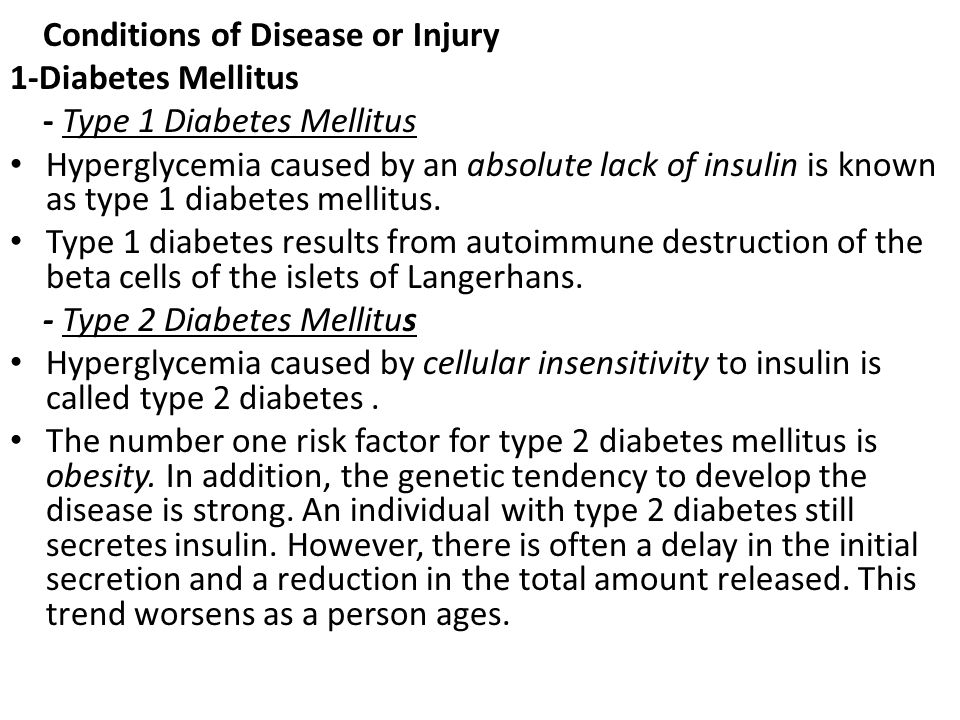 Conditions of Disease or Injury