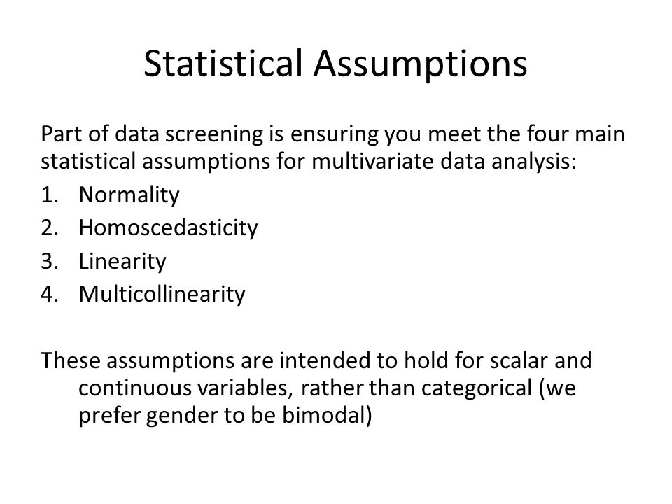 The main assumptions of the pcmm