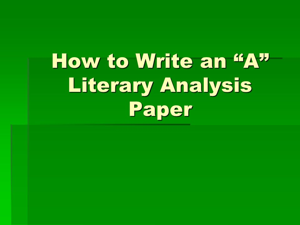 How to write analysis paper