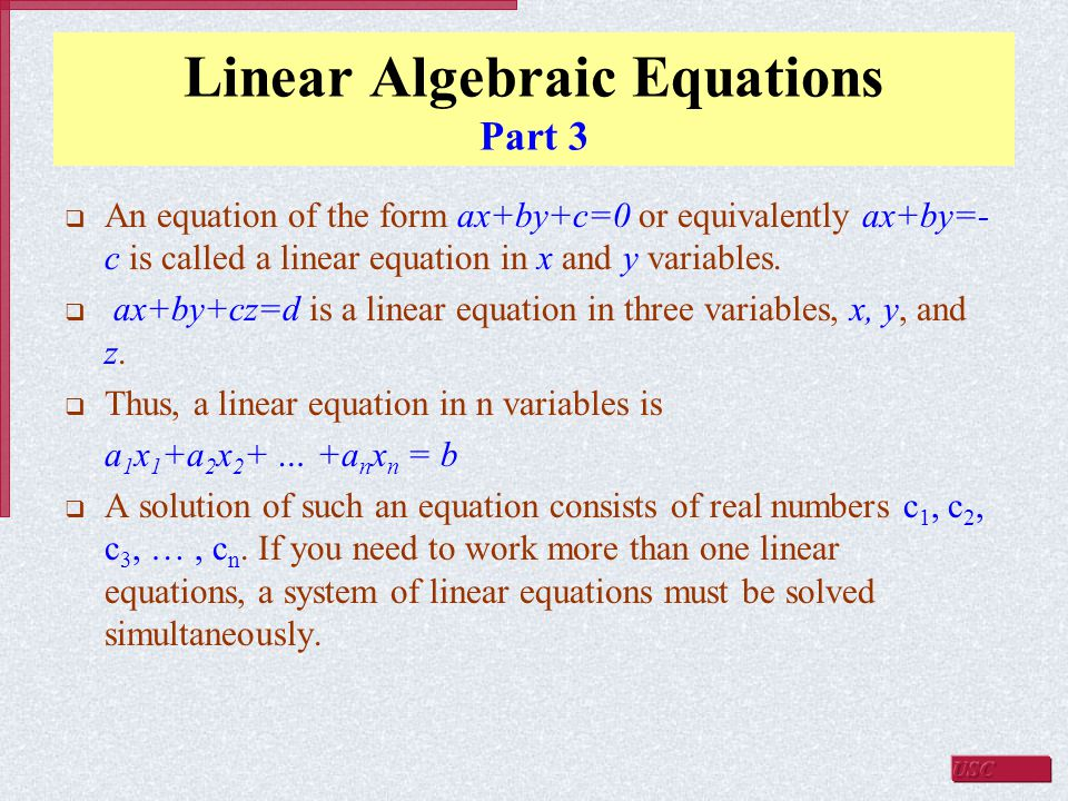 Linear Algebraic Equations Part 3
